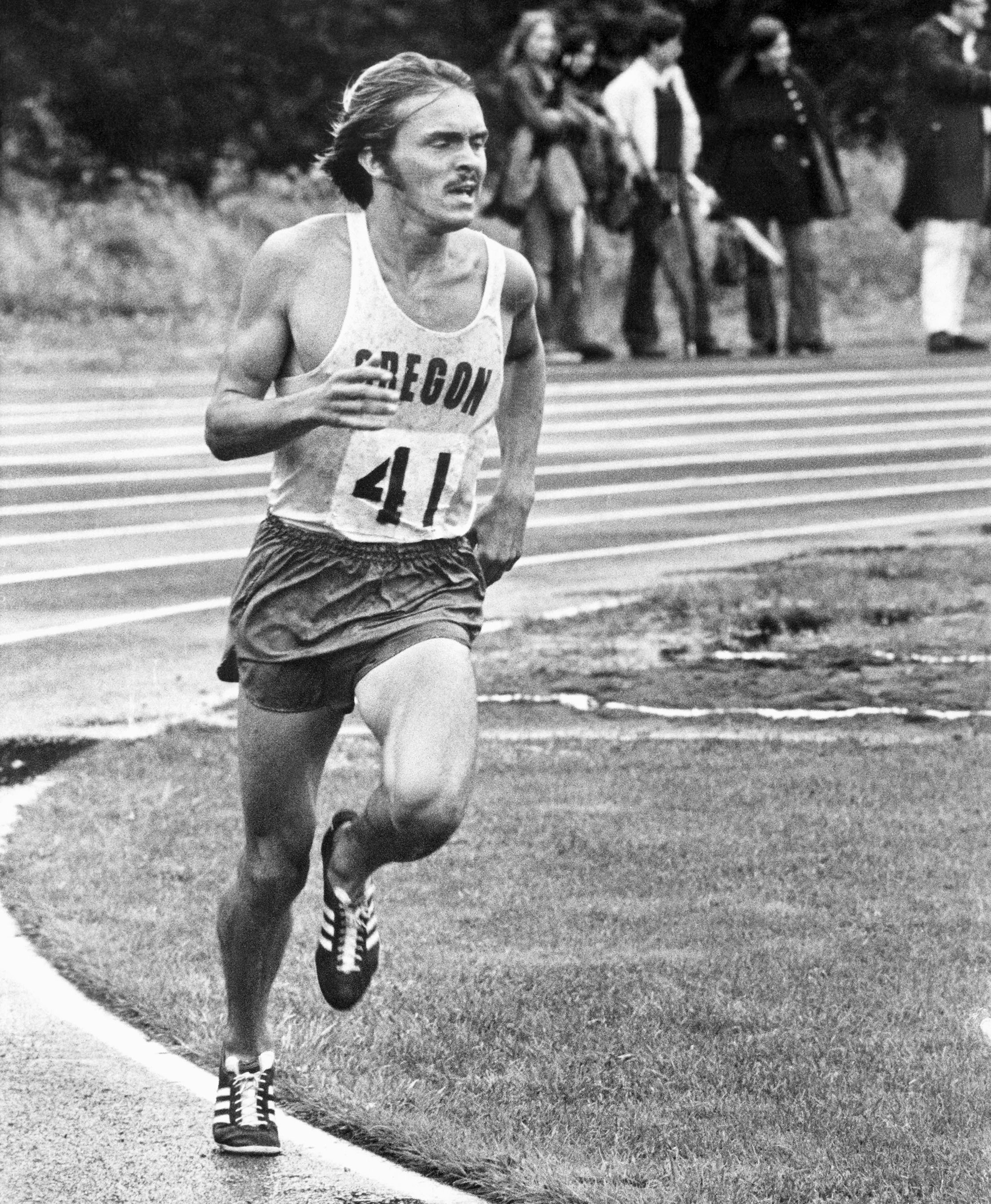 Steve Prefontaine of Oregon set a U.S. record in the 3,000-meter race on Saturday, June 26, 1972 in the Rose Festival Track Meet at Gresham, Oregon. His time was 7 minutes, 45.8 seconds. Profontaine will run 5,000 meters in the U.S. Olympic Trials which get underway on Thursday in Eugene. (AP Photo/Clark)